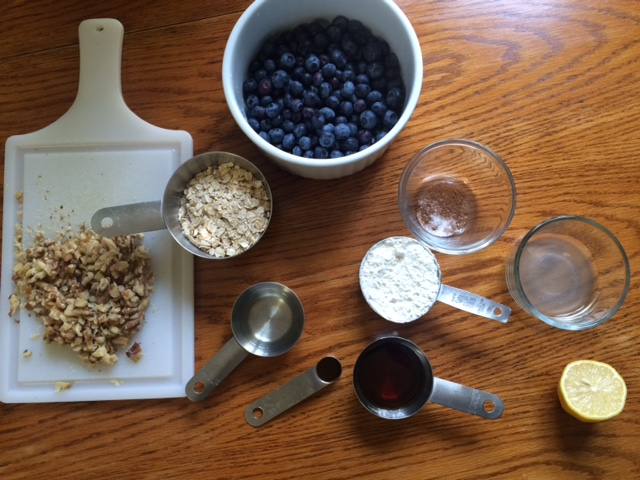 all the blueberry crumble ingredients